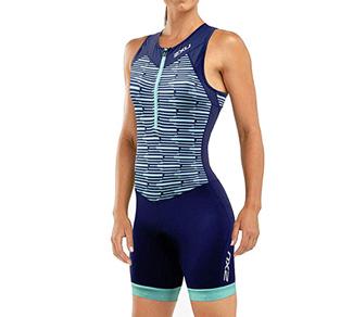no de triatlón de mujer para larga distancia 2XU con cremallera frontal WT5546 color Navy Aqua