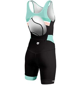 mono triatlón de mujer para corta distancia sin cremallera y con la espalda abierta